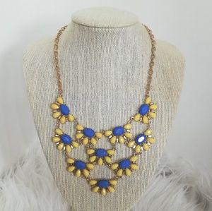 J. CREW NWOT Yellow and Blue Floral Necklace